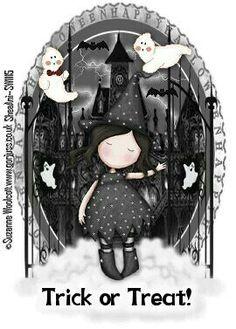 Gorjuss Trick or treat - Halloween Halloween Art, Happy Halloween, Digi Stamps, Whimsical Art, Cute Dolls, Illustrations, Rock Art, Pretty Pictures, Trick Or Treat