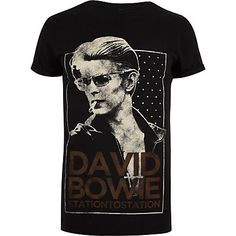 Black print t-shirt Mens Tall Shirts, Mens Printed Shirts, Cotton Shirts For Men, Men's Shirts, David Bowie Band, T Shirt Vest, Black Print, Workout Shirts, River Island