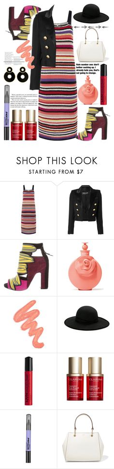 """""""235"""" by erohina-d ❤ liked on Polyvore featuring Monsoon, Balmain, Pierre Hardy, Valentino, Obsessive Compulsive Cosmetics, Betmar, NYX, Clarins, Maybelline and DKNY"""