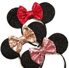 Rose Gold Minnie Ears Minnie Mouse Ears Sparkly by GoldandArrows