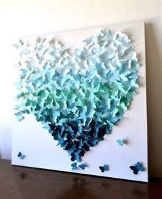 Butterfly Heart Wall Art in Aqua-Teal Ombre by Ron&Noy -LIMITED EDITION- Modern Statement Art for Home Wedding Gift Anniversary Nursery (gift ideas with pictures diy) Origami Butterfly, Butterfly Wall Art, Metal Tree Wall Art, Diy Wall Art, Wall Decor, Art Mural Papillon, Wedding Picture Walls, Paper Art, Paper Crafts