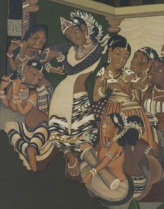 """jpgDetail from Ajanta painting by Robert Gill. page on the object Photograph by V&A Photographic Studio"""" Ancient Indian Paintings, Indian Art Paintings, Ancient Art, Kahlo Paintings, Abstract Paintings, Oil Paintings, Ajanta Ellora, Ajanta Caves, Mural Painting"""