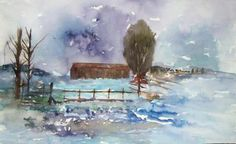 snowy day - Painting by Hichem Gassouma in My Diary at touchtalent