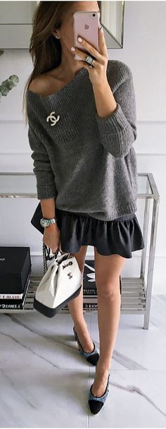 what to wear with a sweater : bag skirt heels