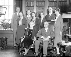 1/30/1932- Governor Franklin D. Roosevelt of New York celebrated his 50th birthday in Hyde Park at home and at an old-time dance and party. Photo shows the family posing at home, with Roosevelt seated beside his mother, Sara Delano Roosevelt. Eleanor Roosevelt stands to the right of the Governor. Other family members present include Mr. and Mrs. Elliot Roosevelt; Mrs. Curtis Dall, daughter of the Governor, and her husband.January 30, 1932, ❤❤❤❤❤ http://www.historichydepark.org/