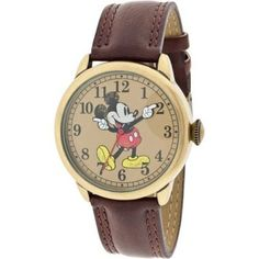 Buy Disney MCK959 Mickey Mouse Unisex Gold Tone & Leather Classic Moving Hands Watch - Topvintagestyle.com ✓ FREE DELIVERY possible on eligible purchases
