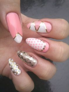 spring mix and match manicure: pink, white, polka dots, glitter, gold striping tape nail art