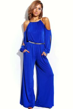 blue slinky cut out cold shoulder outfit WHO: Stunner, Glamour Girl, Dancing Queen WHERE: Red Carpet, The Oscars, Chateau Marmont  bejeweled bow tie belted wide leg party jumpsuit-$40.00