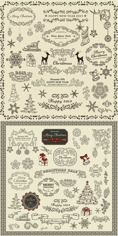 All free vectors and illustrations in EPS and AI - Page 9 Christmas Frames, Christmas Love, Christmas Greetings, Vintage Christmas, Christmas Cards, Lettering Fonts Design, Christmas Tree Silhouette, Bakery Branding, Carton Invitation