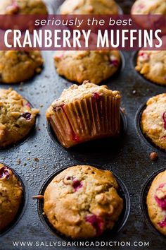 Warm, soft, and fluffy cranberry cardamom spice muffins for all of your holiday baking! This is an easy Thanksgiving and Christmas breakfast recipe! Muffin Recipes, Baking Recipes, Breakfast Recipes, Dessert Recipes, Breakfast Dishes, Yummy Recipes, Cranberry Oatmeal Muffins, Simple Muffin Recipe, Homemade Muffins