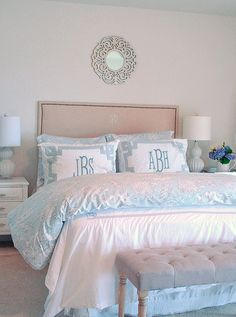 Basic white bedding can be jazzed up {per season or mood!} with new bedding in fun colors from @Homegoods. This pretty gray and white print blends perfectly in the neutral space while still adding interest. In other seasons, other colors and patterns can be added. Personalize the shams for an extra special touch! Sponsored Pin.