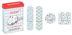 The consummate band aids for the hypochondriac.  You know the one who thinks a tiny cut on the finger needs a trip to the emergency room...Call the ambulance!  24 assorted sizes with absorbent pads...all printed with sweet happy ambulances on them.  Latex free. 24 bandages.  Tin measures 2 5/8