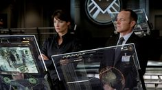 """Cobie Smulders as Maria Hill and Clark Gregg as Phil Coulson in the """"Avengers"""" movies and on """"Agents of S. Marvel Films, Avengers Movies, Superhero Movies, Avengers 2012, Marvel Avengers, Marvel Comics, Sherlock, Maria Hill, Clark Gregg"""