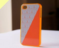 iphone case - orange geometric pattern and color block with orange case (BlissfulCASE Yellow line). $19.99, via Etsy.