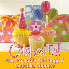 Free gift bag and cake topper templates
