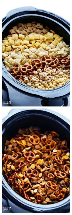 Slow Cooker Chex Mix -- the classic mix you love, made in your crock pot! | http://gimmesomeoven.com #slowcooker #crockpot