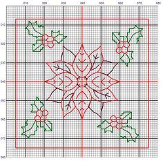 Brodeuse Bressane - holly and poinsettia (Christmas) Motifs Blackwork, Blackwork Cross Stitch, Blackwork Embroidery, Cross Stitching, Cross Stitch Embroidery, Small Cross Stitch, Cross Stitch Designs, Cross Stitch Patterns, Poinsettia