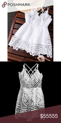 Peplum White Crochet Top Polyester. MEDIUM= SIZE 6, LARGE = SIZE 8 Tops Blouses