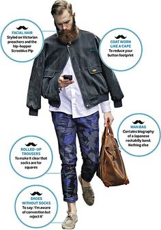 Funny pictures about Quick Hipster Guide. Oh, and cool pics about Quick Hipster Guide. Also, Quick Hipster Guide photos. Hipster Fashion, Mens Fashion, Hipster Style, Beard Fashion, Fashion Guide, Fashion 2014, Fashion Hats, Rockabilly Bands, Shoes Without Socks