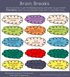 Brain Breaks are a fun way to wake-up the brain throughout the day to give bodies a needed oxygen boost and wire the brain for optimal learning! {FREE PRINTABLE}