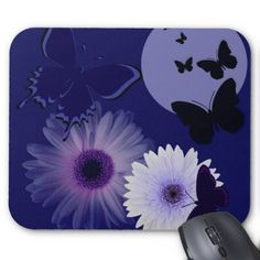 Blue Purple Butterfly and Daisy Mouse Pad