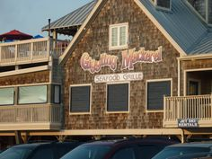 Giggling Mackerel Seafood Grille in Ocean Isle Beach, NC - Wedding party and friends dinner the night before the wedding!