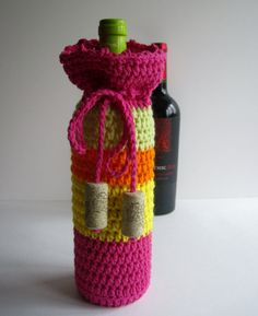 Wine Cozy - Crochet Wine Bottle Covers Sacks Gift Bags - Pink, Orange, Yellow and Green with Cork Tassels