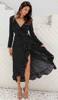 Simplee Autumn long sleeve polka dot ruffle wrap dress Women sexy v neck split maxi dress vestidos Summer beach black long dress in 2019 Trendy Dresses, Elegant Dresses, Sexy Dresses, Fashion Dresses, Summer Dresses, Wrap Dresses, Summer Outfits, Winter Dresses, Dresses With Sleeves