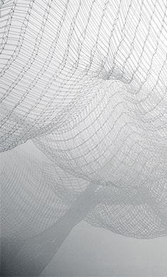 Jinnie Seo | Wandering Still (detail), 2015 | hand-woven straws + silicon strings