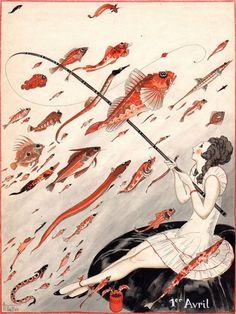 Armand Vallée   La pêche au poisson d'Avril   1923.