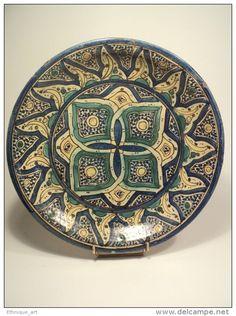 Ancien plat marocain 19ème Céramique Maroc faïence Fez  Afrique du Nord Fès Morocco ceramic