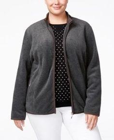 Karen Scott Plus Size Zeroproof Fleece Jacket, Only at Macy's - Gray 2X