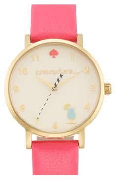The flamingo pink strap on this adorable Kate Spade watch add an extra shot of fun.