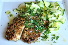 Hazelnut-Crusted Tilapia with Zucchini Ribbons  - Delish.com