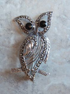 Owl Pin Brooch Sterling Silver Onyx Marcasite by cutterstone, $88.00