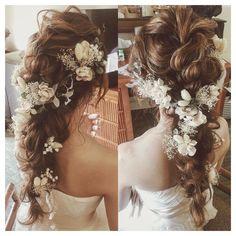 手作りヘアード、可愛い🌾♡ #hawaii #hawaiiwedding #weddinghair #verawang #ハワイ#ハワイウェディング#ヘアメイク #ヘアアレンジ#プレ花嫁#編みおろし