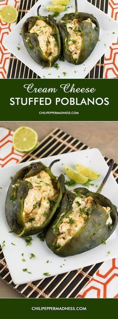 Stuffed Peppers Recipe. Cream Cheese Stuffed Poblano Peppers from ChiliPepperMadness.com