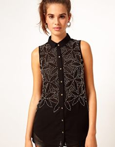 Embellished tank blouse. #wanttodoitmyself