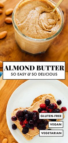 Homemade almond butter is healthy, affordable and even more delicious than store-bought! Learn how to make almond butter with this easy recipe. Homemade Almond Butter, Almond Butter Cookies, Recipes With Almond Butter, Homemade Nut Butter Recipes, Peanut Butter, Cooking Recipes, Healthy Recipes, Healthy Food, Garlic
