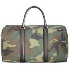 Jack Spade Men's Camo Duffel Bag ($598) ❤ liked on Polyvore featuring men's fashion, men's bags, open, mens duffle bags, mens canvas bag, men's duffel bags, mens canvas duffle bag and mens bag