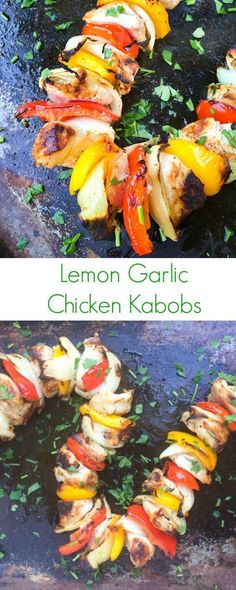 Lemon Garlic Chicken Kabobs - Easy & healthy meal ideal for grilling or broiling!