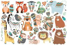 121 pc Tribal Vector Clipart Bundle - Illustrations