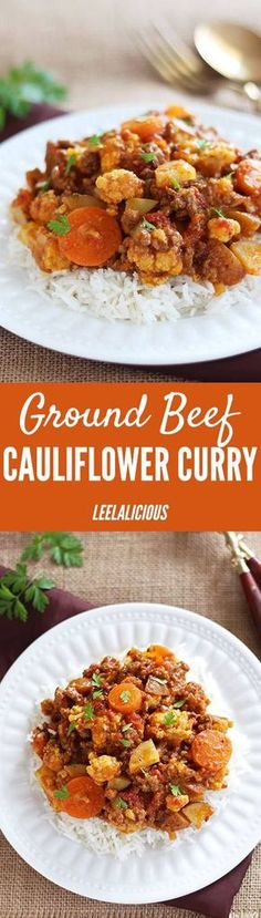 This delicious recipe for Ground Beef Cauliflower Curry makes a delicious and gluten free comfort food meal. Saucy, hearty with a unique mix of aromatic spices (that aren't hot) this is a beloved dinner recipe for the entire family.