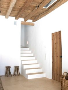 Oh my goodness - totally similar to your stairs going up and turning the corner with a wall right there! Mediterranean Architecture, Mediterranean Homes, Interior Architecture, Interior And Exterior, Interior Design, Ibiza, Casa Petra, Stairs And Doors, Stone Houses