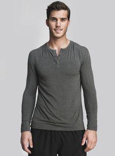 Cory Vines The Neighborhood Henley in Slate @Cory Vines  #hucksley #henley #menswear #tshirt