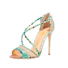 Womens Fashion Open Toe Mesh Sandals Stiletto High Heels Strappy Buckle Stilettos Shoes for Work, School FSJ Design
