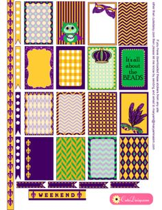 FREE Printable Mardi Gras Stickers  for Happy Planner and Erin Condren Life Planner by Cutedaisy