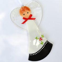 032 Angel Black and White Christmas by nivenglassoriginals