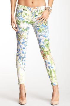 Genetic Denim James Floral Print Zipper Ankle Jean
