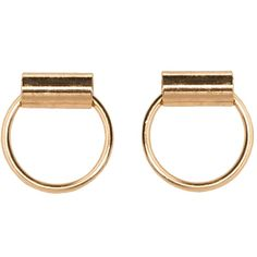 Gold bar hoops (197.475 IDR) ❤ liked on Polyvore featuring jewelry, earrings, gold jewellery, stud earrings, gold hoop earrings, yellow gold jewelry and yellow gold hoop earrings